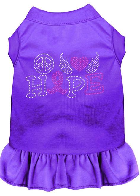 Peace Love Hope Breast Cancer Rhinestone Pet Dress Purple Sm (10)