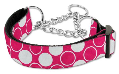 Diagonal Dots Nylon Collar Martingale Bright Pink Large