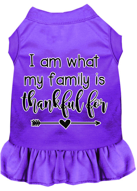 I Am What My Family Is Thankful For Screen Print Dog Dress Purple 4x