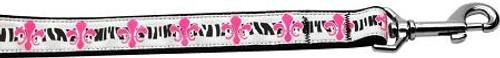 Pink Fleur De Lis 1 Inch Wide 6ft Long Leash