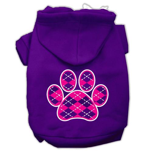 Argyle Paw Pink Screen Print Pet Hoodies Purple Size Xxxl (20)