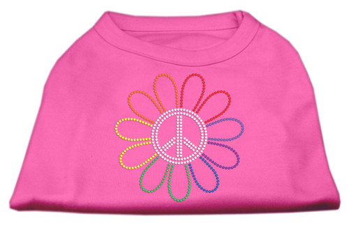 Rhinestone Rainbow Flower Peace Sign Shirts Bright Pink M (12)