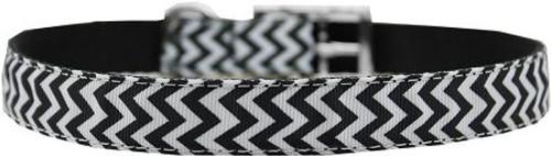 "Chevrons Nylon Dog Collar With Classic Buckle 3/4"" Black Size 24"