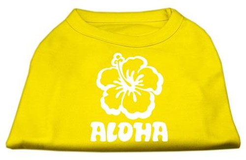 Aloha Flower Screen Print Shirt Yellow Med (12)