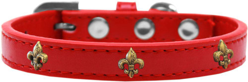 Bronze Fleur De Lis Widget Dog Collar Red Size 10