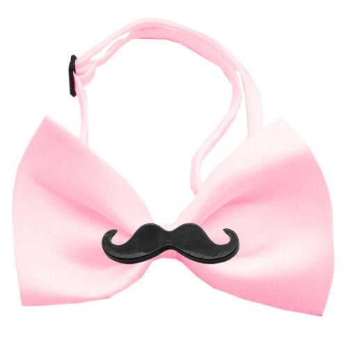 Black Moustache Light Pink Bow Tie