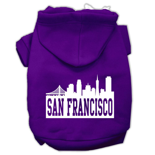 San Francisco Skyline Screen Print Pet Hoodies Purple Size Xl (16)