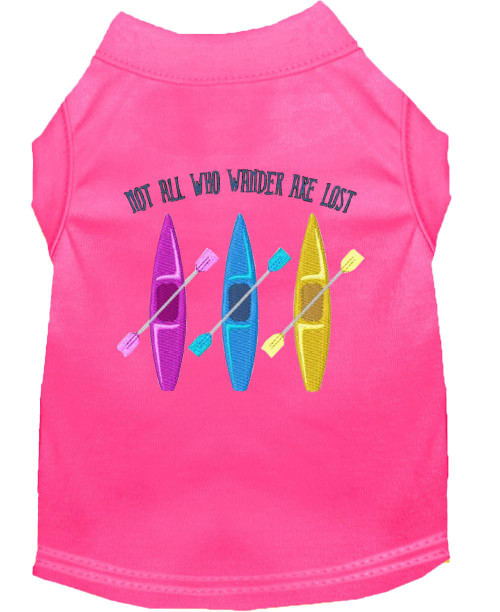 Not All Who Wander Embroidered Dog Shirt Bright Pink Xxxl (20)