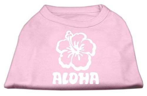 Aloha Flower Screen Print Shirt Light Pink Xs (8)