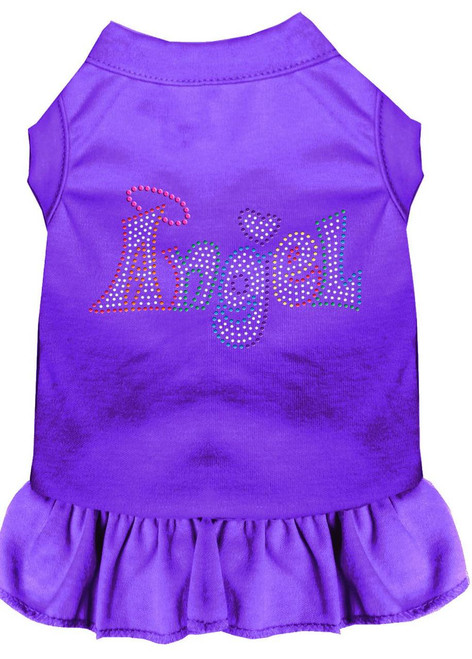 Technicolor Angel Rhinestone Pet Dress Purple Med (12)