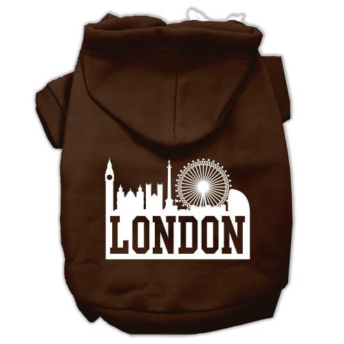 London Skyline Screen Print Pet Hoodies Brown Size Lg (14)