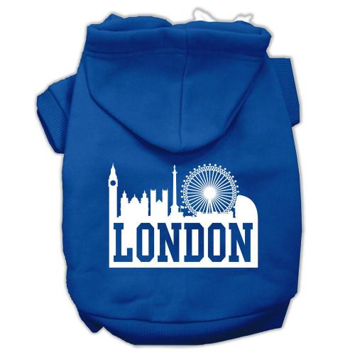 London Skyline Screen Print Pet Hoodies Blue Size Lg (14)