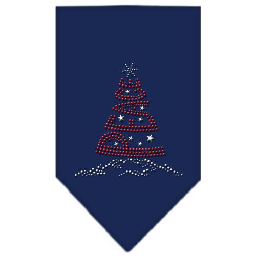 Peace Tree Rhinestone Bandana Navy Blue Large