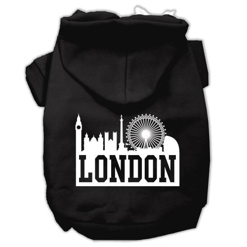 London Skyline Screen Print Pet Hoodies Black Size Lg (14)