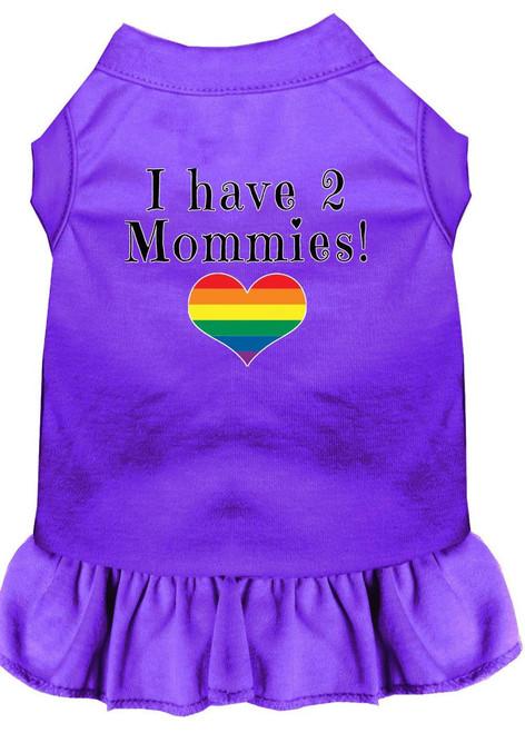 I Have 2 Mommies Screen Print Dog Dress Purple Xxxl