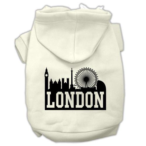 London Skyline Screen Print Pet Hoodies Cream Size Lg (14)