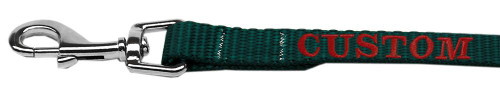 Custom Embroidered Made In The Usa Nylon Pet Leash 3/8in By 4ft Green