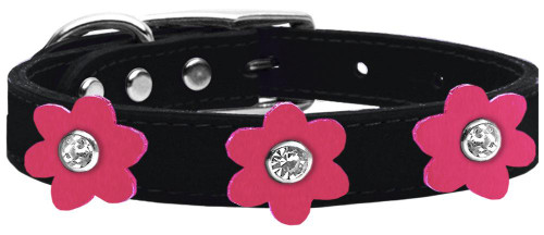 Flower Leather Collar Black With Pink Flowers Size 14