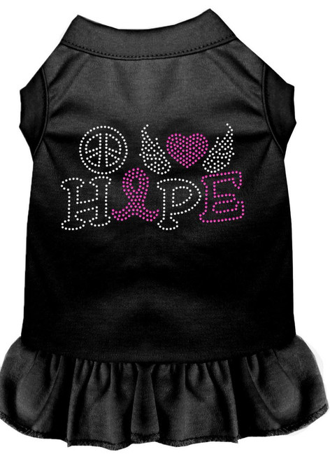 Peace Love Hope Breast Cancer Rhinestone Pet Dress Black Sm (10)