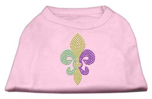 Mardi Gras Fleur De Lis Rhinestone Dog Shirt Light Pink Med (12)