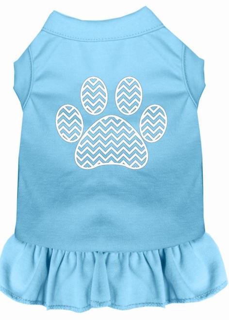 Chevron Paw Screen Print Dress Baby Blue Xxxl (20)
