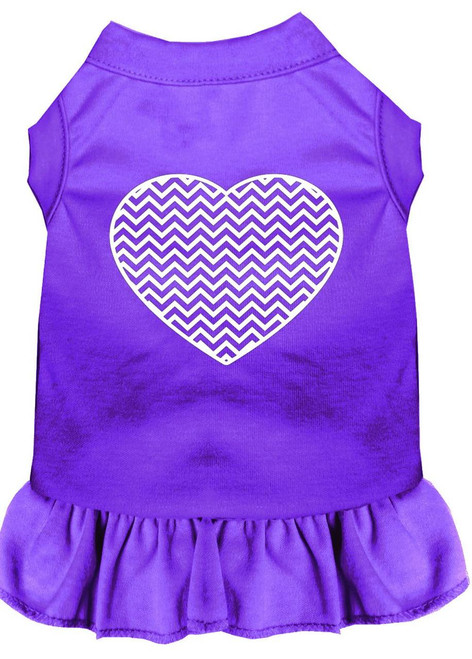 Chevron Heart Screen Print Dress Purple Xxxl (20)