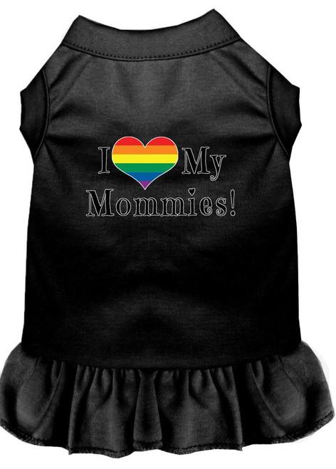 I Heart My Mommies Screen Print Dog Dress Black Xxxl