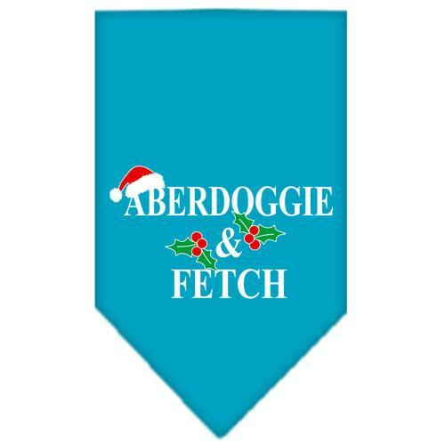 Aberdoggie Christmas Screen Print Bandana Turquoise Large