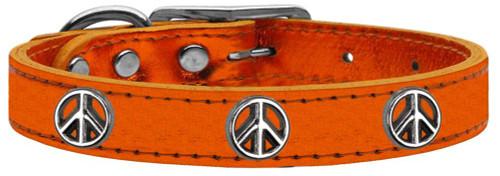 Peace Sign Widget Genuine Metallic Leather Dog Collar Orange 18