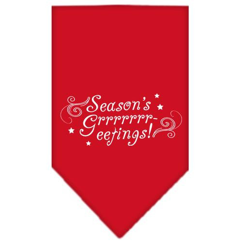 Seasons Greetings Screen Print Bandana Red Small