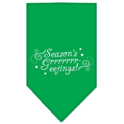 Seasons Greetings Screen Print Bandana Emerald Green Small