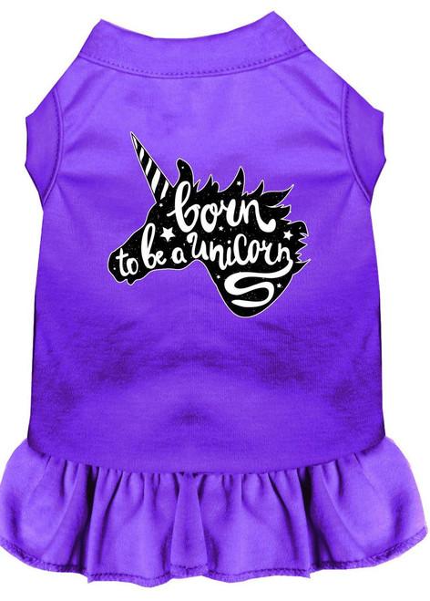 Born To Be A Unicorn Screen Print Dog Dress Purple Med (12)