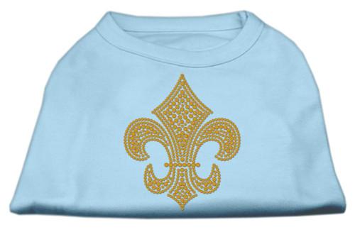 Gold Fleur De Lis Rhinestone Shirts Baby Blue L (14)