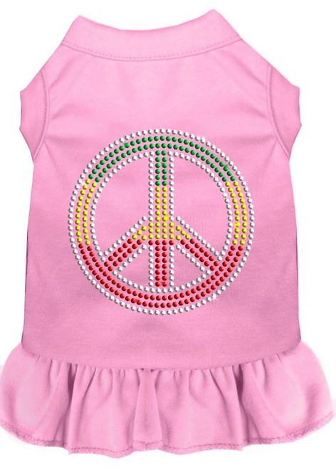 Rhinestone Rasta Peace Dress Light Pink 4x (22)