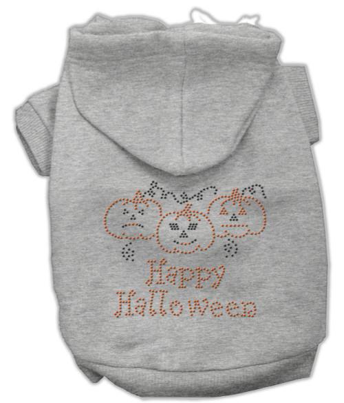 Happy Halloween Rhinestone Hoodies Grey L (14)