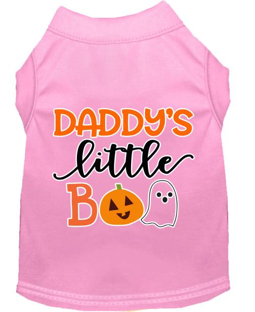 Daddy's Little Boo Screen Print Dog Shirt Light Pink Xs