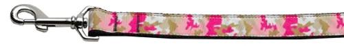 Pink Camo Nylon Dog Leash 5/8 Inch Wide 6ft Long
