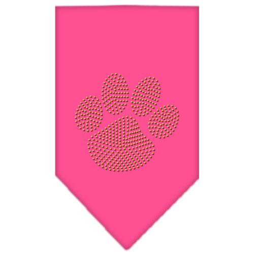 Paw Gold Rhinestone Bandana Bright Pink Small