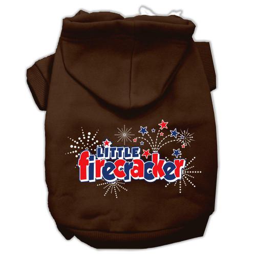 Little Firecracker Screen Print Pet Hoodies Brown Size Xxl (18)