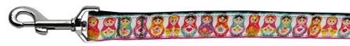 Pretty Nesting Dolls Nylon Ribbon Dog Collars 1 Wide 6ft Leash