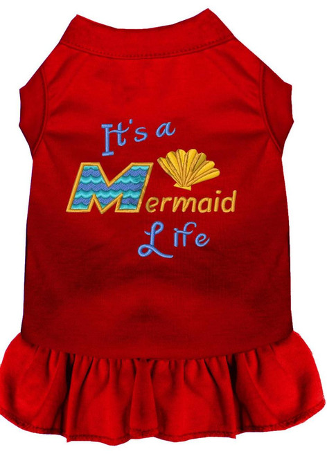 Mermaid Life Embroidered Dog Dress Red Xxxl (20)