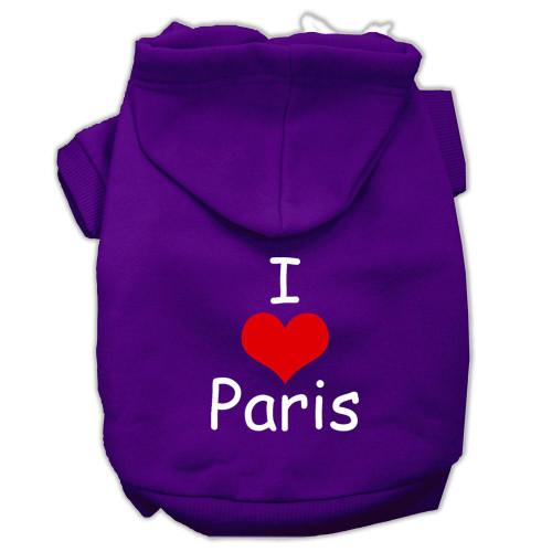 I Love Paris Screen Print Pet Hoodies Purple Size Lg (14)
