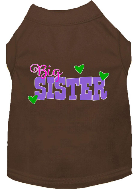 Big Sister Screen Print Dog Shirt Brown Sm