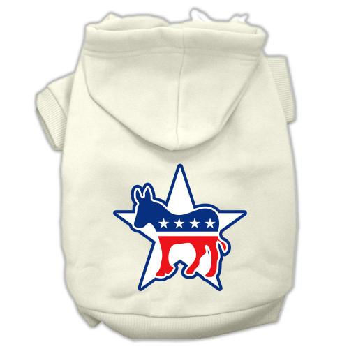 Democrat Screen Print Pet Hoodies Cream Size Lg (14)