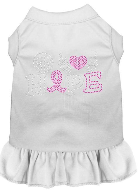 Peace Love Hope Breast Cancer Rhinestone Pet Dress White Sm (10)