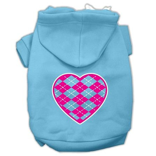Argyle Heart Pink Screen Print Pet Hoodies Baby Blue Size Xs (8)