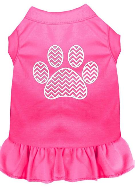 Chevron Paw Screen Print Dress Bright Pink Xxxl (20)