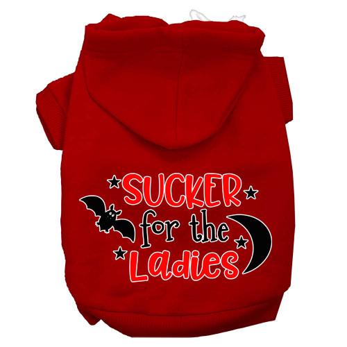 Sucker For The Ladies Screen Print Dog Hoodie Red Xxxl