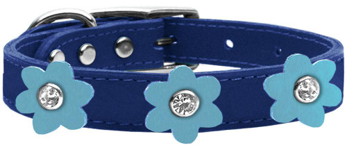 Flower Leather Collar Blue With Baby Blue Flowers Size 12
