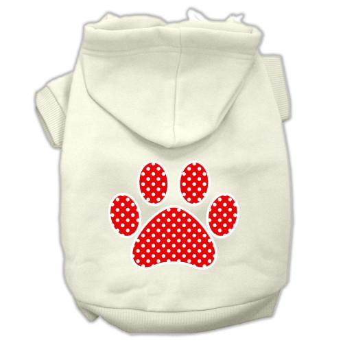 Red Swiss Dot Paw Screen Print Pet Hoodies Cream Size M (12)